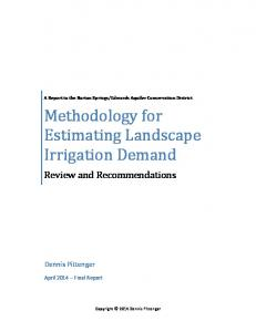 Methodology for Estimating Landscape Irrigation Demand