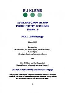 Methodology of the March 2007 Release - EU Klems