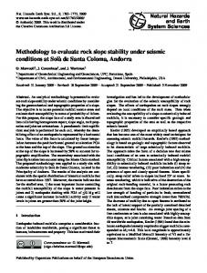 Methodology to evaluate rock slope stability under seismic conditions ...