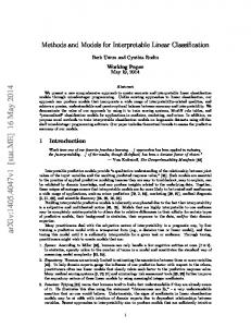 Methods and Models for Interpretable Linear Classification