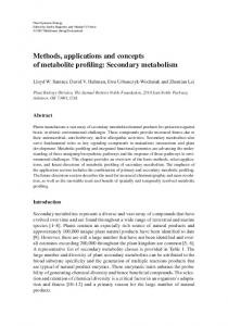 Methods, applications and concepts of metabolite ... - Springer Link