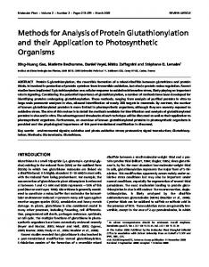 Methods for Analysis of Protein Glutathionylation and their Application ...