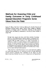 Methods for Assessing Child and Family Outcomes in Early Childhood ...