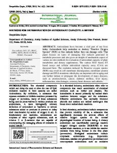 METHODS FOR DETERMINATION OF ANTIOXIDANT CAPACITY: A ...
