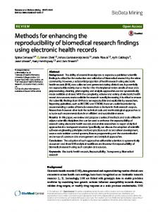 Methods for enhancing the reproducibility of biomedical research ...