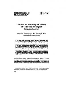 Methods for Evaluating the Validity of Test Scores for ...
