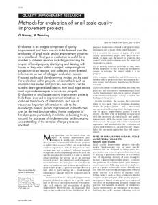 Methods for evaluation of small scale quality improvement ... - NCBI