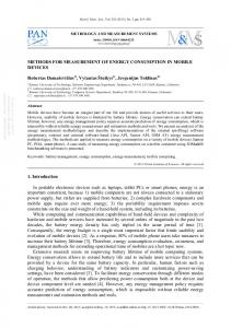 METHODS FOR MEASUREMENT OF ENERGY CONSUMPTION IN ...