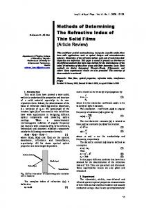 Methods of Determining The Refractive Index of Thin Solid Films