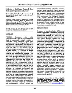 Methods of Endotoxin Removal from Biological ... - University of Alberta