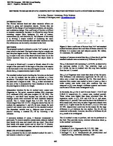 METHODS TO MEASURE STATIC COEFFICIENT OF FRICTION ...