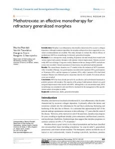 Methotrexate: an effective monotherapy for