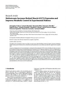 Methotrexate Increases Skeletal Muscle GLUT4 Expression and