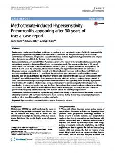 Methotrexate-induced Hypersensitivity Pneumonitis appearing after 30 ...