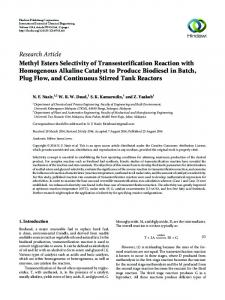 Methyl Esters Selectivity of Transesterification Reaction with