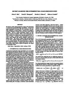 Metric Learning for Hyperspectral Image ... - Semantic Scholar