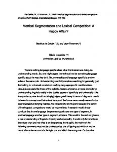 Metrical Segmentation and Lexical Competition - Beatrice de Gelder