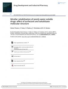 Micellar solubilization of poorly water-soluble drugs - Department of ...