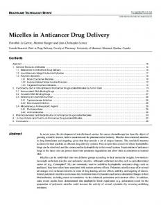 Micelles in Anticancer Drug Delivery - Springer Link