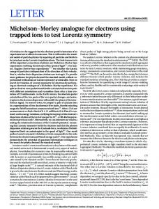 Michelson-Morley analogue for electrons using trapped ions to test ...