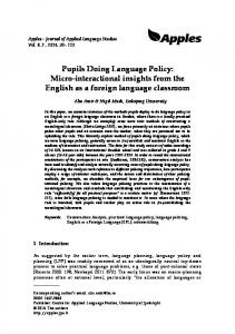 Micro-interactional insights from the English as a foreign language