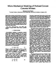 Micro-Mechanical Modeling of Portland Cement ...