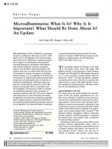 Microalbuminuria: What Is It? Why Is It Important? What Should Be ...
