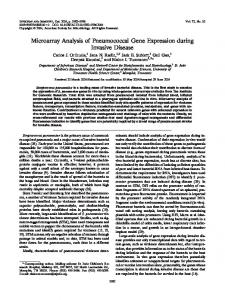 Microarray Analysis of Pneumococcal Gene Expression during ...