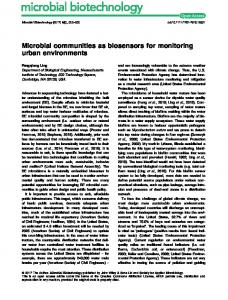 Microbial communities as biosensors for ... - Wiley Online Library