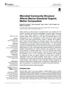 Microbial Community Structure Affects Marine Dissolved ... - Frontiers