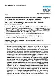 Microbial Community Structure of a Leachfield Soil: Response ... - MDPI
