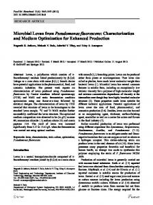Microbial Levan from Pseudomonas fluorescens ... - Springer Link