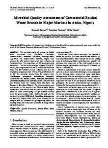Microbial Quality Assessment of Commercial Bottled Water Brands in ...