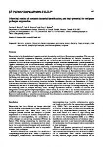 Microbial studies of compost: bacterial identification, and ... - CiteSeerX