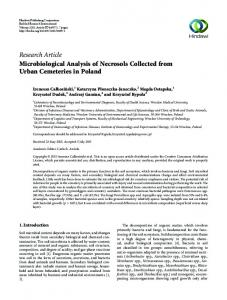 Microbiological Analysis of Necrosols Collected from Urban ...
