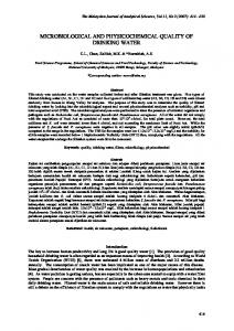 microbiological and physicochemical quality of drinking water