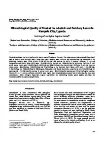 Microbiological Quality of Meat at the Abattoir and ... - Semantic Scholar