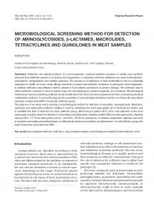 MICROBIOLOGICAL SCREENING METHOD FOR DETECTION OF ...