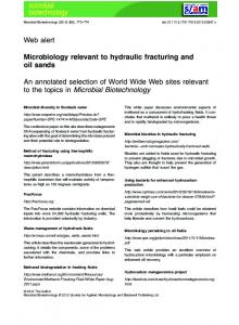 Microbiology relevant to hydraulic fracturing and ... - Wiley Online Library
