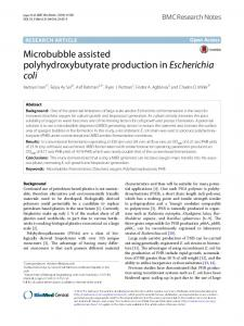 Microbubble assisted polyhydroxybutyrate production inEscherichia ...