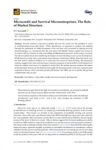 Microcredit and Survival Microenterprises: The Role of Market ... - MDPI