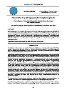 Microemulsion Drug Delivery Systems for Radiopharmacy Studies