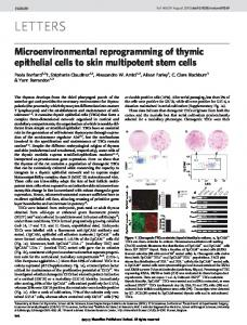Microenvironmental reprogramming of thymic epithelial cells to skin ...