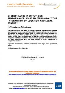 microfinance institutions performance. what matters about the ... - ULB