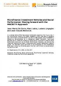 Microfinance Investment Vehicles and Social Performance - ULB