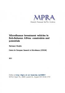 Microfinance investment vehicles in Sub-Saharan Africa: constraints