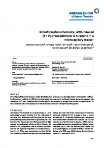 Microflow photochemistry: UVC-induced [2 + 2 ... - BioMedSearch