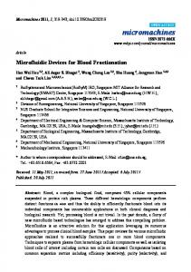 Microfluidic Devices for Blood Fractionation - Semantic Scholar