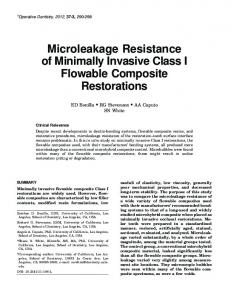 Microleakage Resistance of Minimally Invasive ... - Operative Dentistry