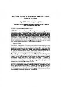 micromachining of molds for manufacturing optical ...